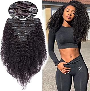 Extensiones de Cabello Natural Clip Kinky Curly (Max Grueso) 8 Piezas 18 Clips Extensiones de Pelo Humano Cortina 100% Remy Human Hair Virgin - 20 Pulgadas 50CM #1B Negro Natural