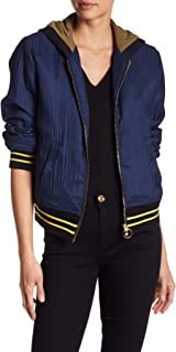 True Religion Women's Pleated Bomber with Hood
