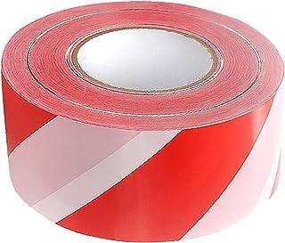 Afsluitband rood wit platte band waarschuwingstape 500 meter trassenband afsluitband aan beide zijden bedrukt 500 m x 75 mm