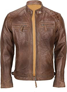 Absolute Leather Men's Franco Distressed Brown Genuine Lambskin Leather Jacket