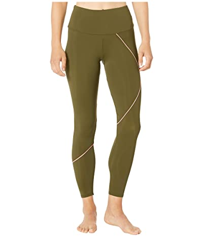Onzie Hyper Beam Midi Leggings (Olive Twist/Coral) Women