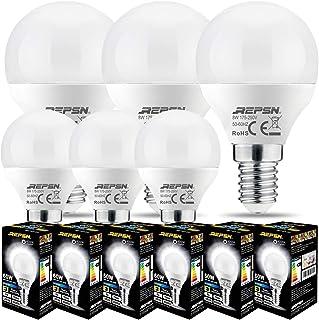 REPSN® Bombilla LED E14 de rosca Edison pequeña para pelota de golf P45, 8 W (equivalente a 60 W), Blanco Neutro 4000K,no regulable, paquete de 6