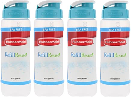 Rubbermaid Refill,  Reuse 20-ounce Chug Bottle,  Pack of 4 Clear Bottles