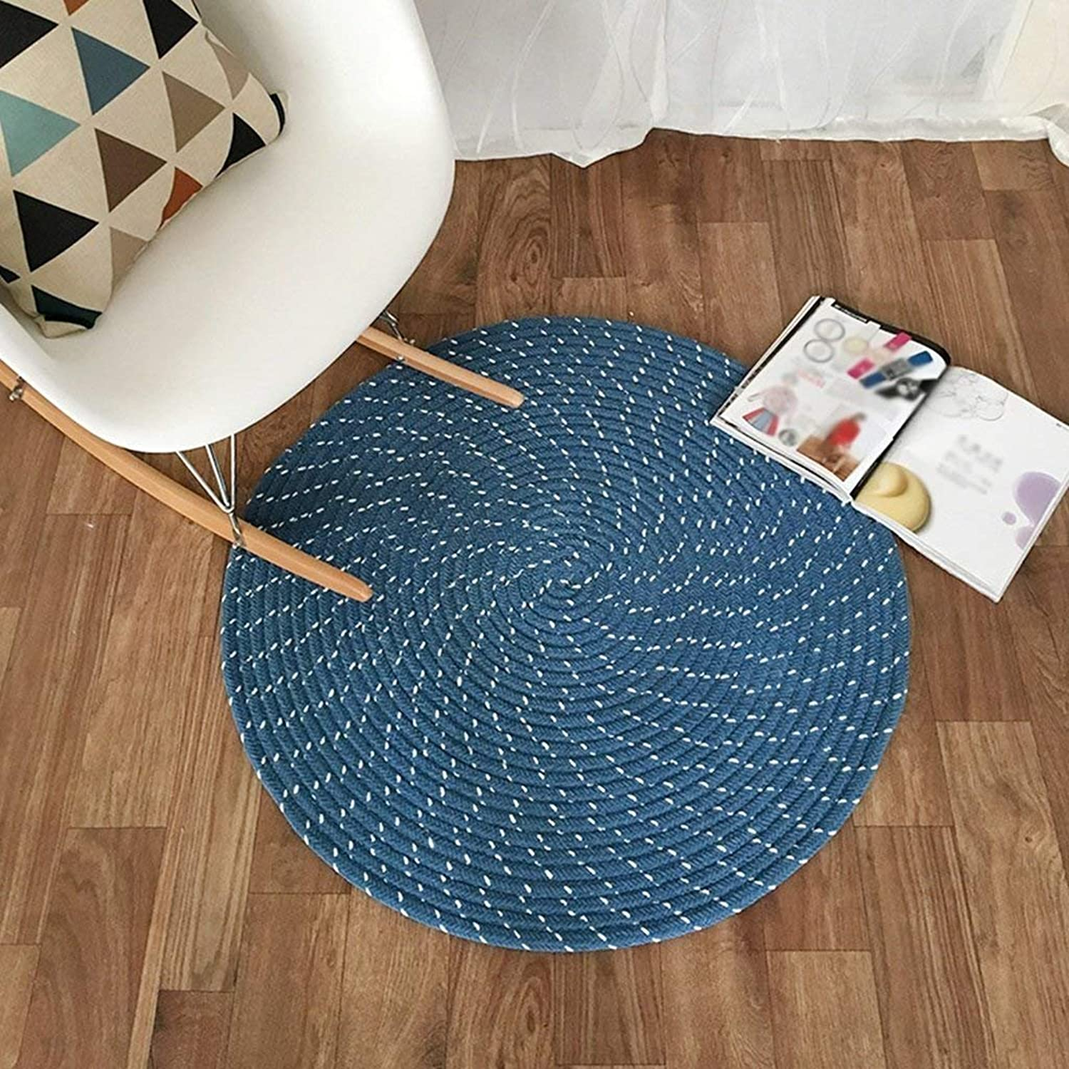 Carpet, Weave Round Computer Chair Cushion Hanging Basket pad Living Room Bedroom Study Home Diameter 40cm Diameter 150cm Soft and Comfortable (color   Royal bluee, Size   Diameter80cm)