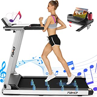 FUNMILY Folding Treadmill, 2.25HP Portable Treadmill with Table Holder and Large LCD Monitor, Fitness Running Machine for Home Gym Office, Built-in Bluetooth Speaker, Free Installation