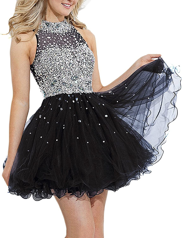 JINGDRESS Short Halter Evening Dresses Sleeveless Beaded Party Gowns Open Back
