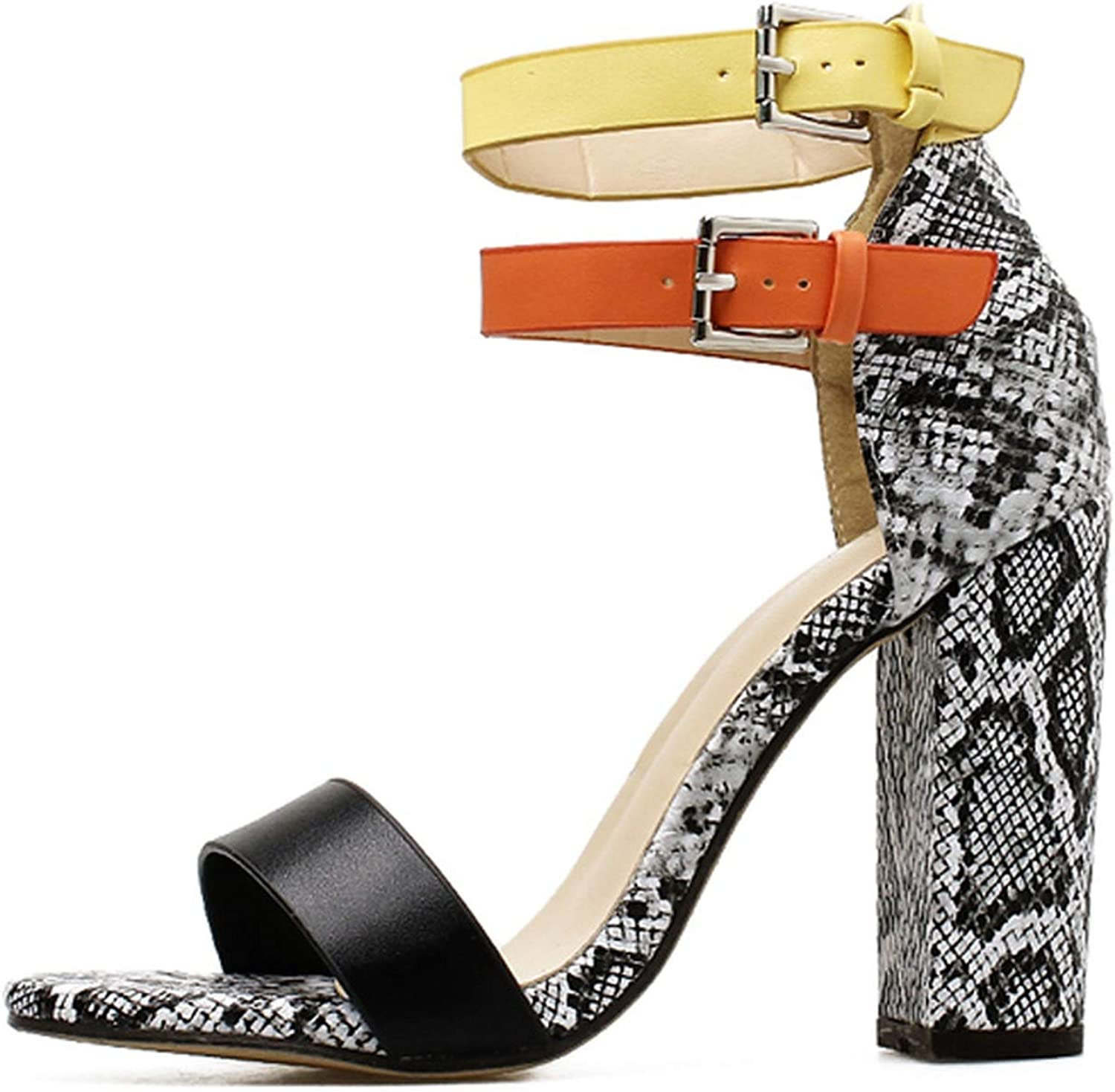 Ches Retro Style Serpentine Patchwork Gladiator Sandals Buckle Peep Toe Thick Heel Platform Fashion Lady Party shoes Women