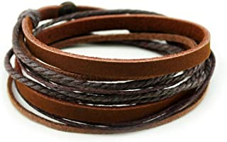 Genuine Leather Bracelet for Women & Men,Unisex Multilayer Leather Adjustable..
