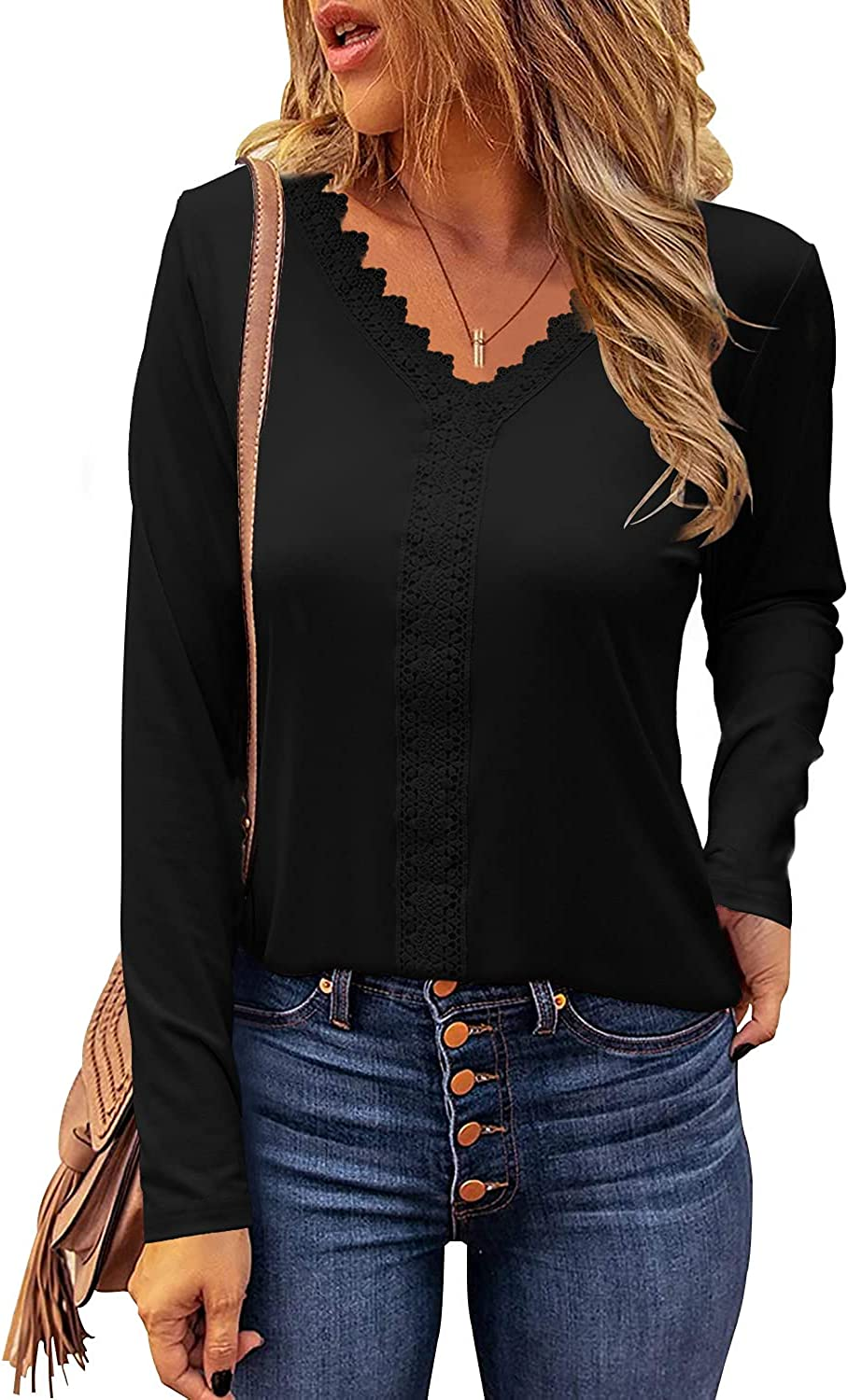 Davenil Womens V Neck Shirts Long Sleeve Lace Crochet Tunic Tops Casual Slim Fit Blouses