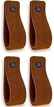 Brute Strength - Leren Handgrepen - Cognac - 4 stuks - Suede 16,5 x 2,5 cm - incl. 3 kleuren schroeven per leren handvat v...