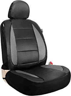 Leader Accessories One Faux Leather Seat Cover for Car Truck SUV Front Seats Black/Grey with Airbag Universal Fit