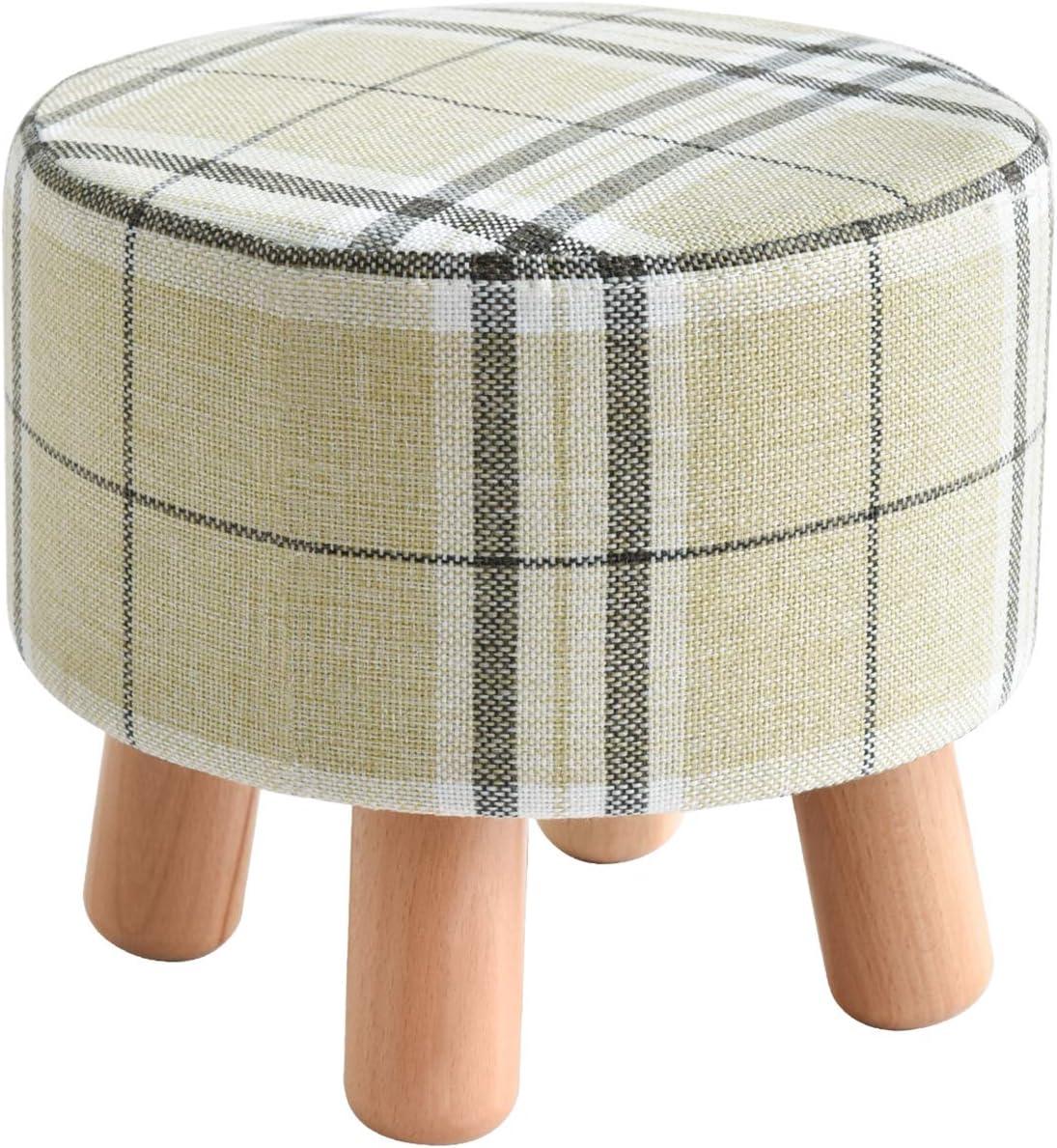IBUYKE Small Footstool Solid Wood Ottoman Stool Sofa Tea Stool Change Shoes Bench Footrest Stepstool Padded Seat Wooden Legs Living Room Bedroom GL-468