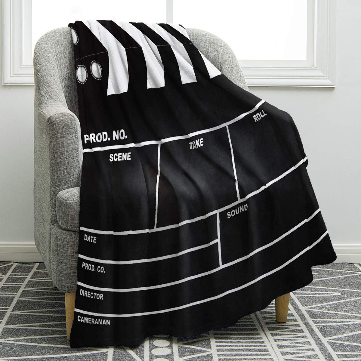 4. Movie Clapboard Print Soft Throw Blanket