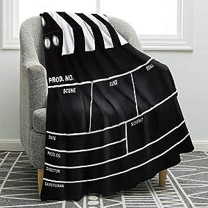 Jekeno Movie Clapboard Black Blanket Soft Warm Print Throw Blanket Ligtweight Durable Cozy for Movie Lover Adult Gift 50