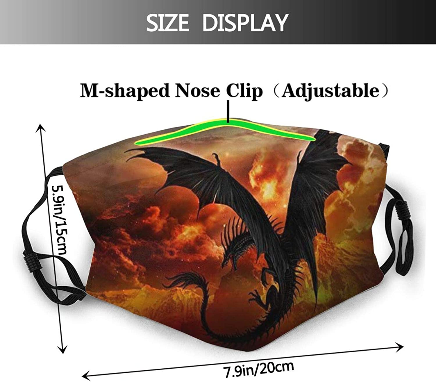 Dragon Face Mask Scarf, Reusable Washable - Fashion Bandanas With 2 Filters, For Men Women Adult & Teens