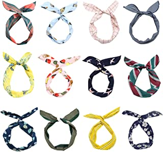 LZYMSZ 12PCS Twist Bow Wired Headbands, Iron Wire Bow Knotted Flower Hairband,Yoga Head Wraps Sports Turban, Vintage Printed Criss Cross Knotted for Women Girls(12-2019TS)