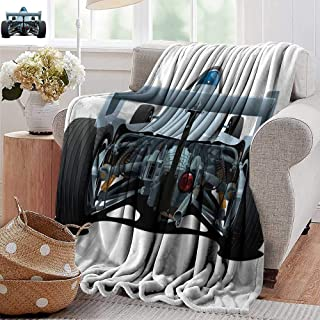 PearlRolan Printed Blanket,Cars,Back View of a Formula 1 Race Car Rally Competition Sports Cartoon Style,Bluegrey Black White,300GSM,Super Soft and Warm,Durable Throw Blanket 60