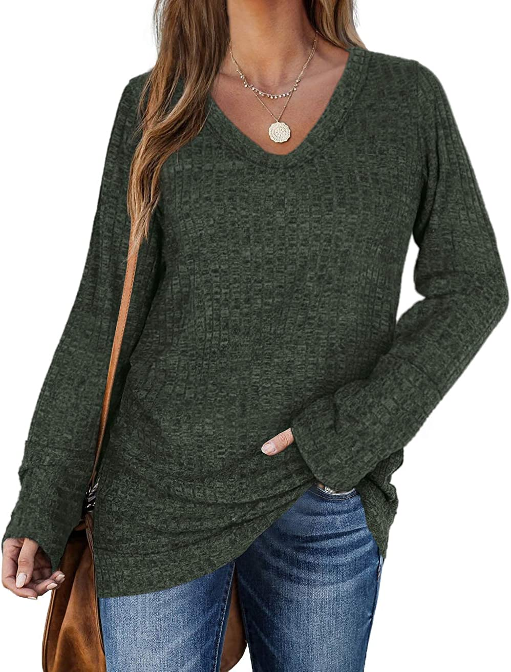 WIHOLL Sweaters for Women Long SEAL limited product Sleeve service V Solid Color Neck Fashion