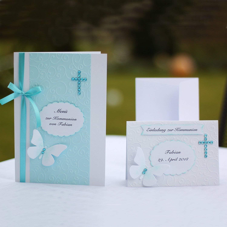 Personalisiertes Set 12 Einladungskarten 20 Kirchenhefte Menükarten Einladung Menü zur Kommunion Konfirmation Taufe Schmetterling Kreuz türkis Handarbeit binnbonn B078RRBK54  | Bunt,