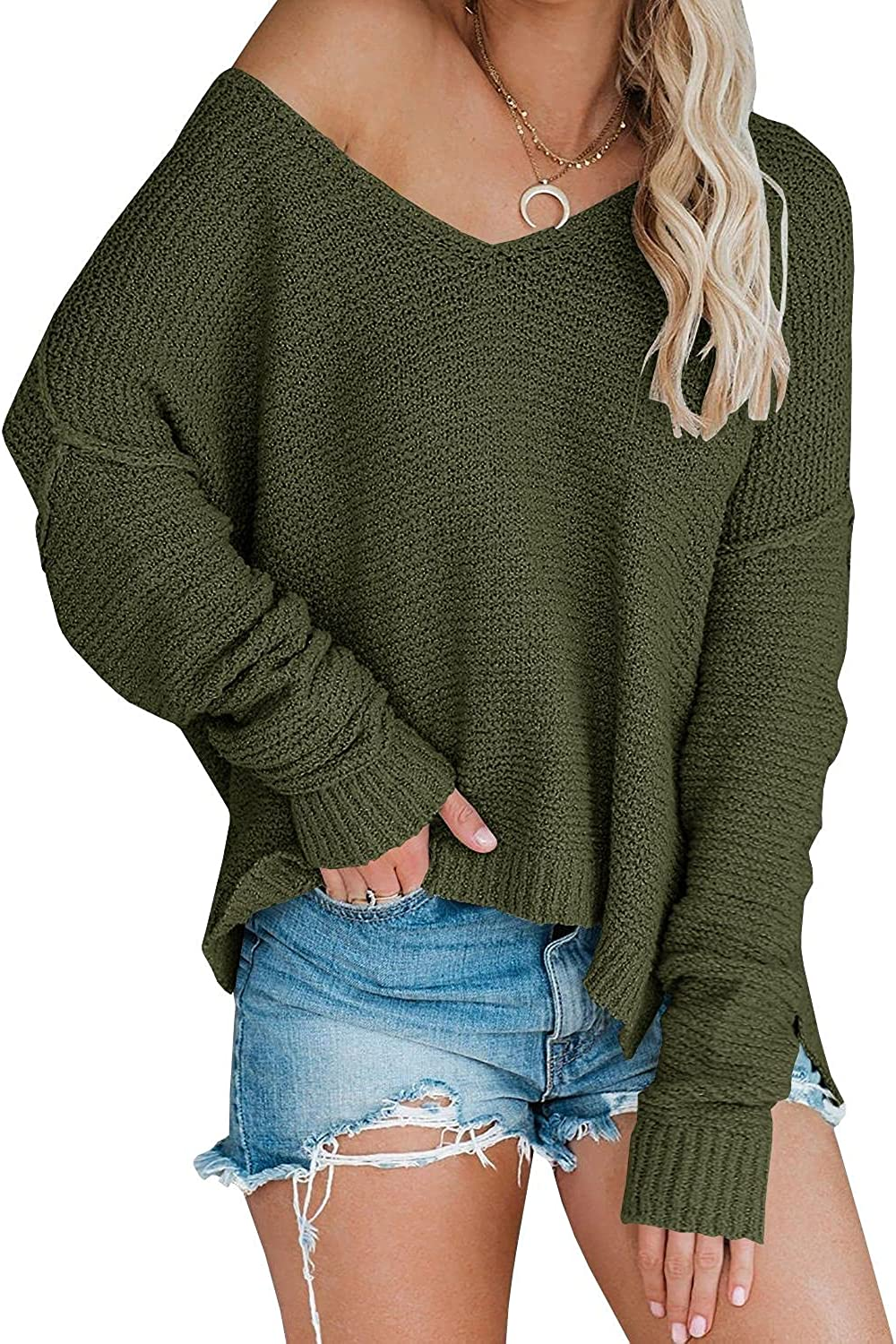 Women's Off Shoulder Knit Sweaters Oversized V Neck Long Sleeve Loose Lightweight Pullover Tops