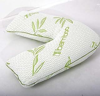 Adamlinens Almohada de bambú en forma de V con funda de bambú transpirable – Almohada de espuma viscoelástica en V para apoyo ortopédico, lactancia, maternidad y embarazo