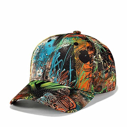 finest selection e0f33 6593f Quanhaigou Printed Baseball Cap,Graffiti Unisex Snapback Flat Bill Hip Hop  Hats