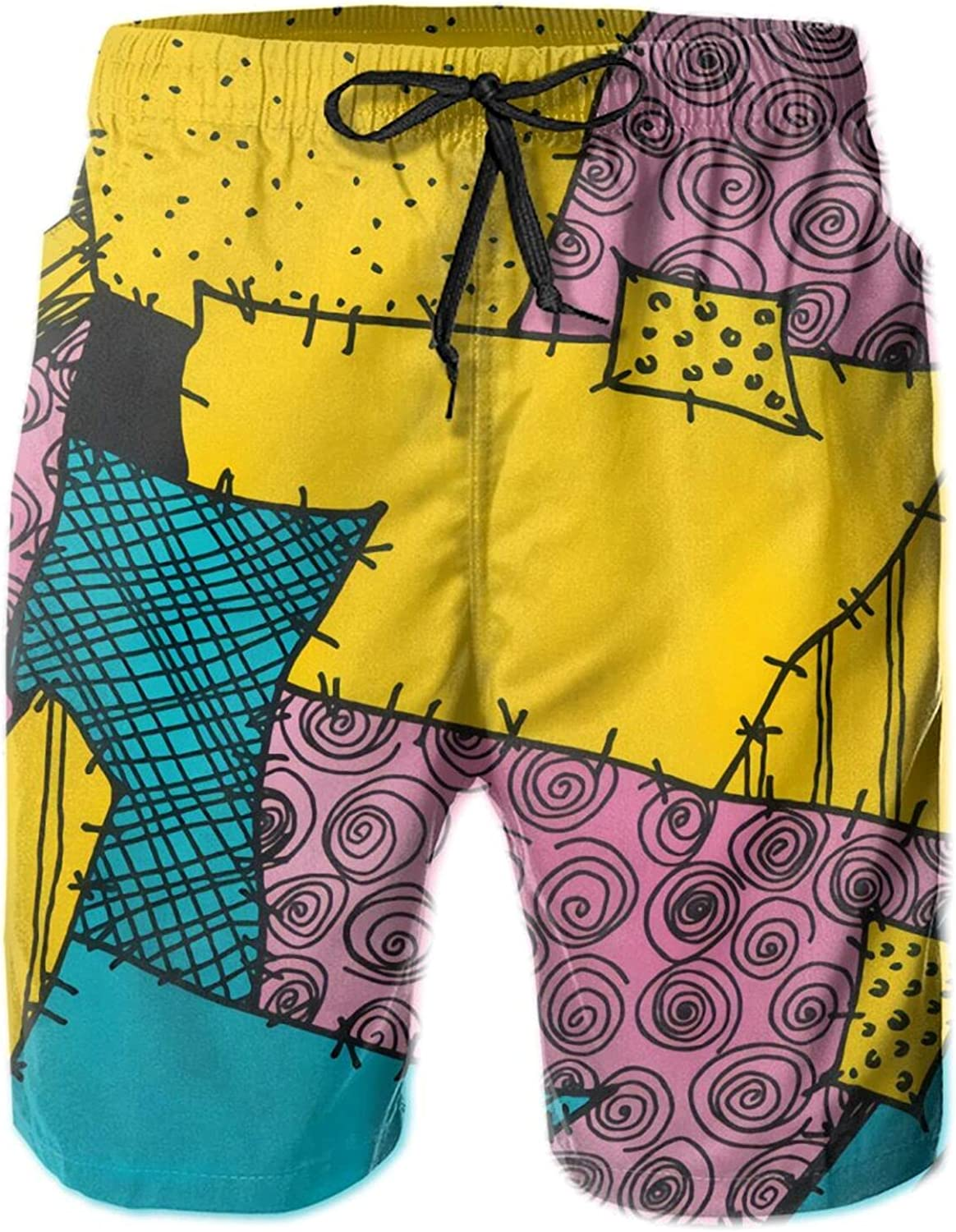 Erdededou Nightmare Before Christmas Sally Pattern Board Shorts Mans Quick Dry Beach Shorts with Pockets