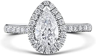 Venetia Top Grade Pear Tear Drop Cut 2 Carats Simulated Diamond Band Ring Solid 925 Silver Platinum Plated Halo