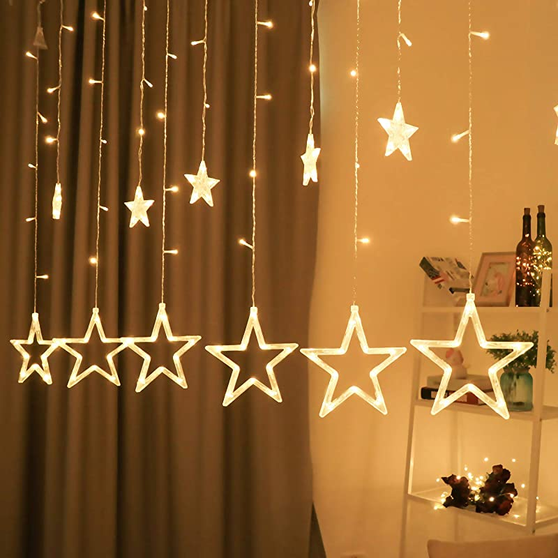 BHCLIGHT Star Curtain Lights 12 Stars 138 LED Star String Lights 8 Modes Stars Shaped String Lights Plug In Curtain Lights For Bedroom Wedding Party Christmas Decorations For The Home Warm White