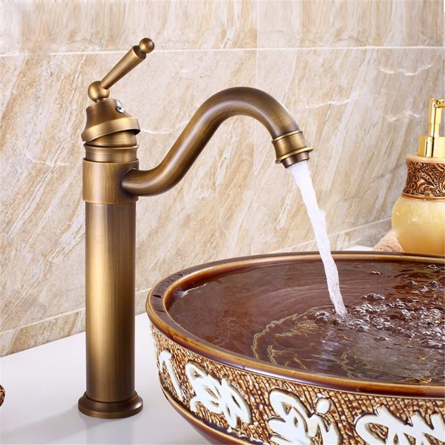 Hlluya Professional Sink Mixer Tap Kitchen Faucet The copper basin faucet surface 盆 antique bathroom kitchen sink hot and cold redary, antique
