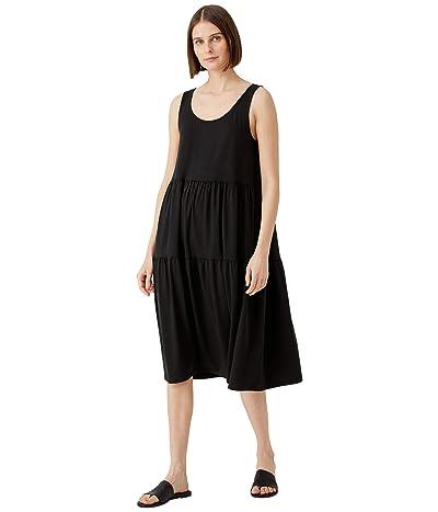 Eileen Fisher Calf Length Tiered Dress in Fine Jersey