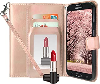 Huawei Ascend XT 2 Case, Huawei Elate 4G LTE Case, Harryshell Kickstand Flip PU Wallet Leather Protective Case Cover with Card Slot Wrist Strap for Huawei Ascend XT2 H1711 (Mirror Rose Gold)