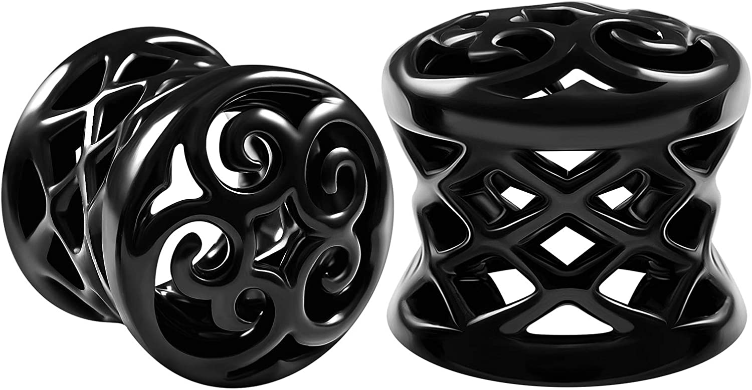 BIG GAUGES Pair of Black Alloy Double Flared Saddle Piercing Jewelry Earring Stretcher Ear Flesh Tunnel Lobe Plugs