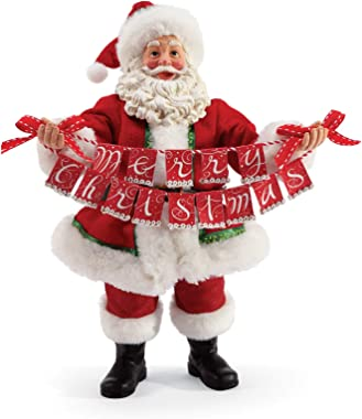 Department 56 Possible Dream Santas Christmas Traditions Banner Figurine, 10 Inch, Multicolor