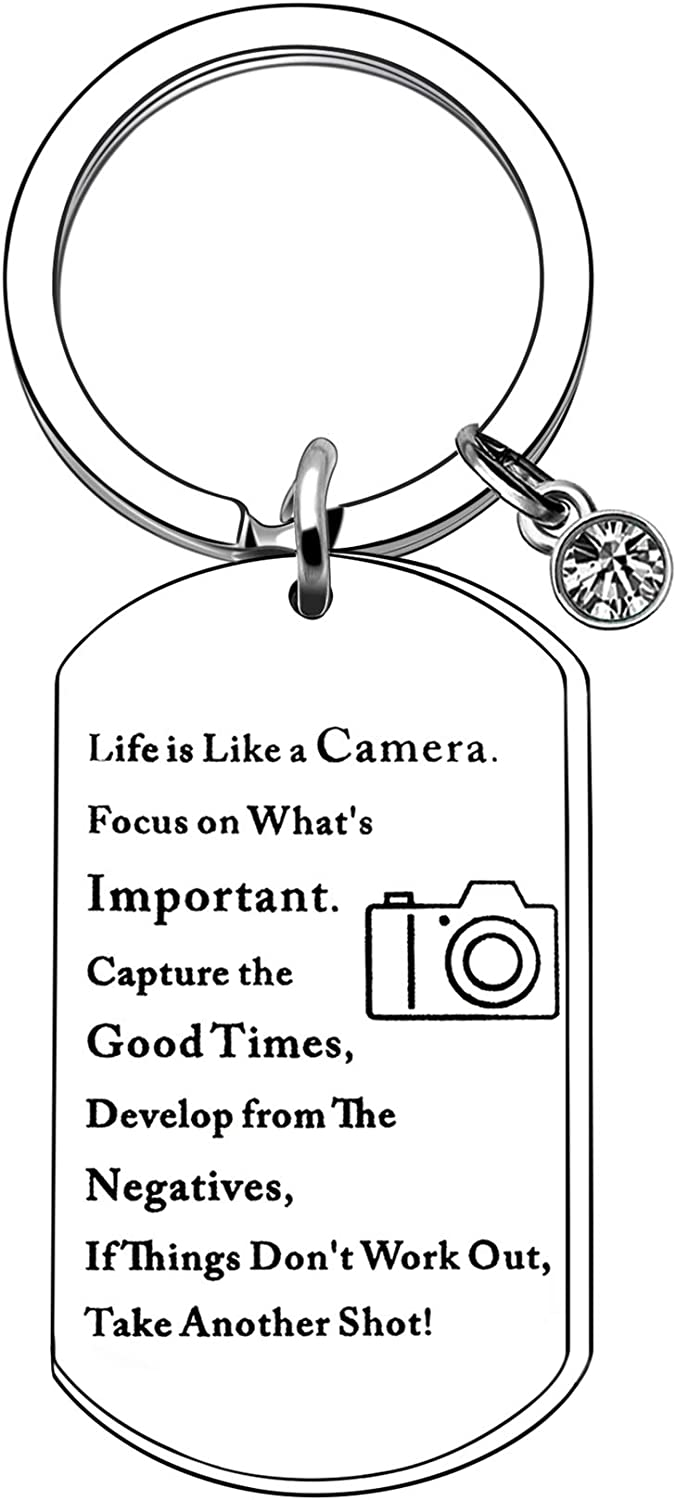 CAROMAY Inspirational Keychain Rings Engraved Camera Dog Tag Key Chain Birthday Women Men Keyring Capture Good Times in Life