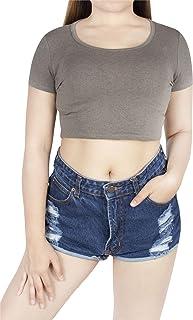 LOFBAZ Sexy Crop Tops for Women Girls Teen Scoop Neck Short Sleeve Tight T Shirt