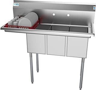 KoolMore 3 Compartment Stainless Steel NSF Commercial Kitchen Sink with 1 Drainboard - Bowl Size 10