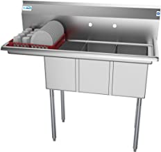 """KoolMore 3 Compartment Stainless Steel NSF Commercial Kitchen Sink with 1 Drainboard - Bowl Size 10"""" x 14"""" x 10"""", Silver"""