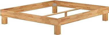 Erst-Holz Lit Adulte hêtre Massif 180x200, lit futon sans tête de lit, Accessoires Variables V-60.87-18, Ausstattung:sommier
