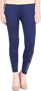 American-Elm Women's Cotton Viscose Net Legging- Dark Blue