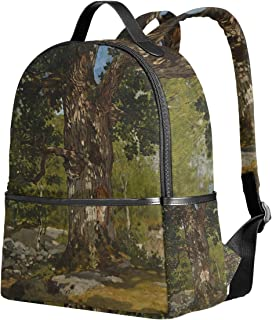 WIHVE School Backpacks The Bodmer Oak Monet Art Oil Paintings School Shoulder Bag Bookbag