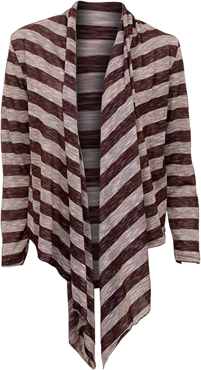 No. 1 Funwear Factory Striped Long Sleeve Flowing Shrug Sweater