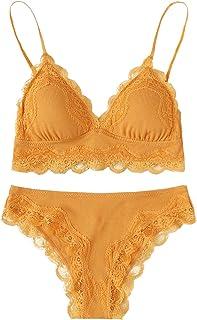 c7d1f9553d7 SweatyRocks Women s Lace Trim Underwear Lingerie Straps Bralette and Panty  Set