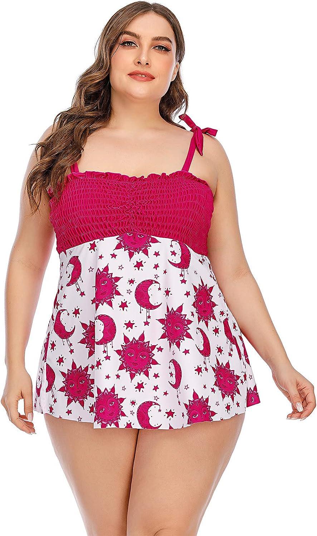 wodceeke Women's Tankini Swimdress Plus Size Swimsuits Tummy Control Swimwear Suit Set