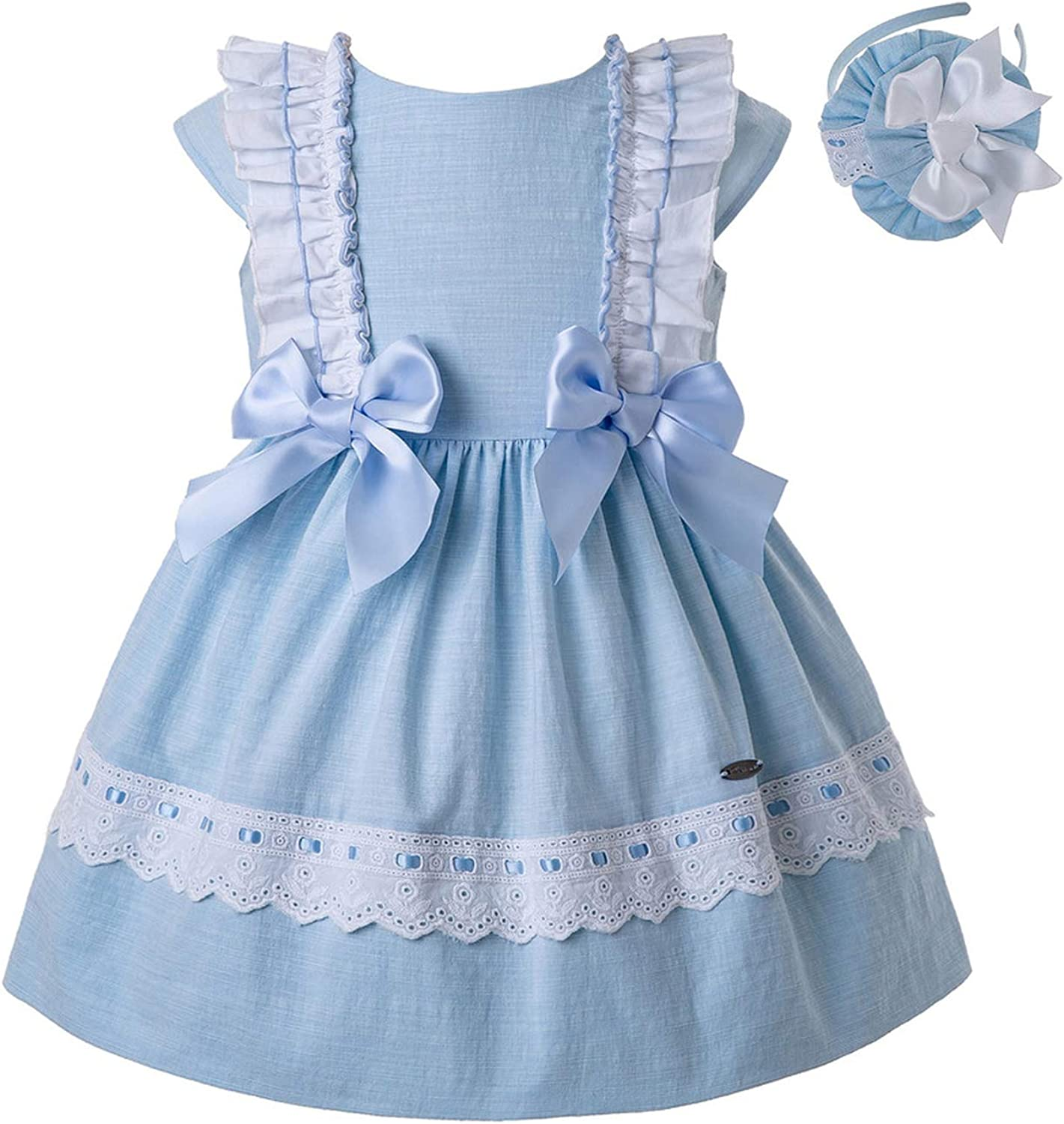 New bluee Baby Girls Dress with Bow Infant Kids Dress with Head G-Dmgd201-C144,Sky bluee,12M