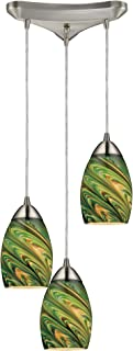 Elk 10089/3EVG Mini Vortex 3-Light Pendant with Evergreen Glass Shade, 10 by 7-Inch, Satin Nickel Finish