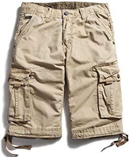 OCHENTA Men's Cotton Loose Fit Multi Pocket Cargo Shorts