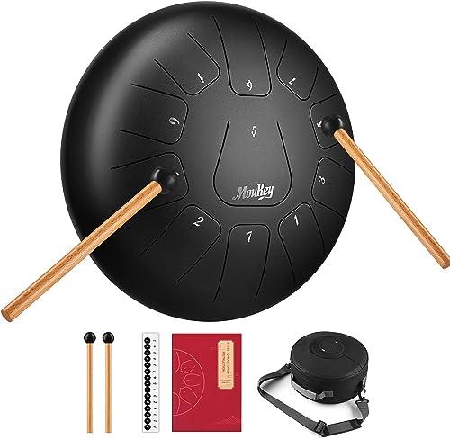 Moukey Steel Tongue Drums à 10 Pouces Tambour Handpan Instrument à Percussion en Acier de, 11 Tons Tambour à Main ave...