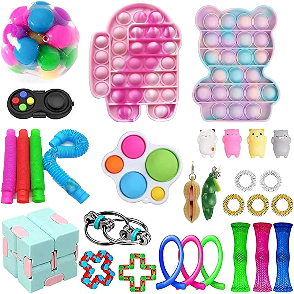 Sensory Fidget Toy Set, Push Bubble Pop Stress Relief Spielzeug, Sensorische Fidget Toys Anti-Stress Spielzeug Toy Zappeln Spielzeug für Kinder Erwachsene