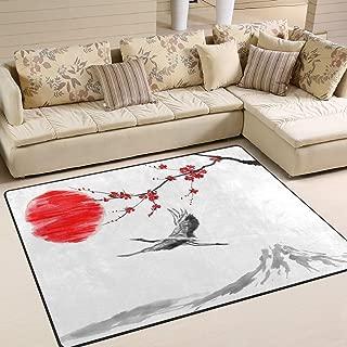 ALAZA Fuji Mountain Japan Cherry Blossom Sakura Crane Bird Sunset Watercolor Area Rug Rugs for Living Room Bedroom 5'3